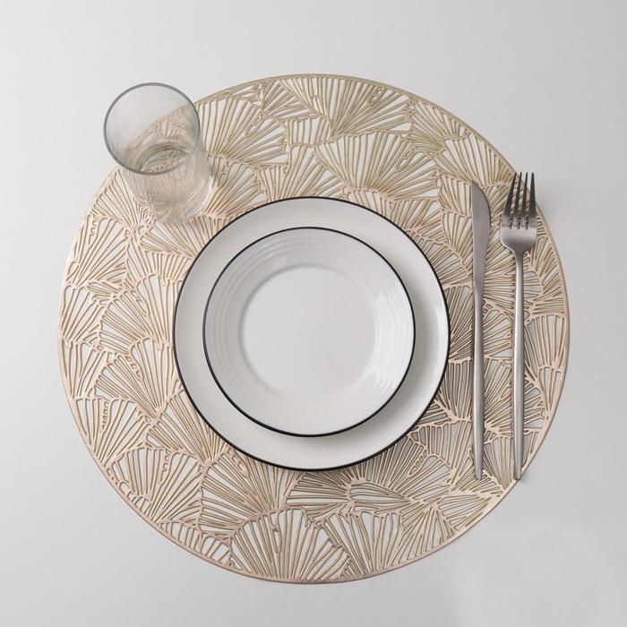 Набор салфеток кухонных Доляна «Веер», 38×38 см, 4 шт, цвет золото - фото 894838