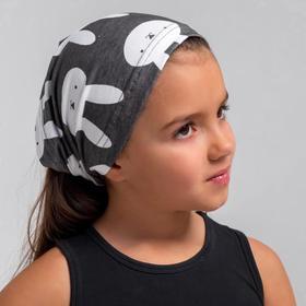Косынка для девочки, цвет тёмно-серый/зайцы, размер 50-54