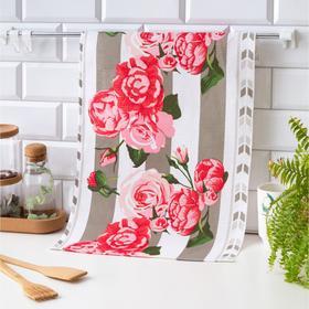 Полотенце вафельное Collorista Цветочный сад, цв.серый 35*58,100% хл,160 г/м2