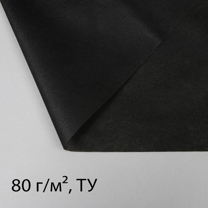 Материал для ландшафтных работ, 1,6 × 43 м, плотность 80 г/м², чёрный - фото 1521571
