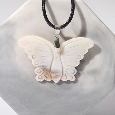 """Кулон """"Перламутр"""" бабочка, цвет белый"""
