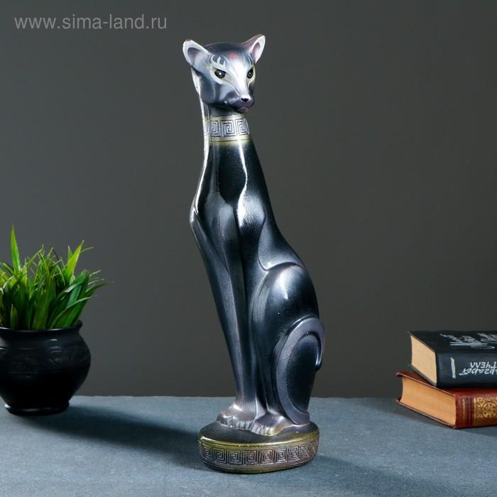 """Сувенир """"Кошка Багира №1"""" большая сидячая черная, жемчуг"""