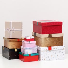 """Набор коробок 10 в 1 """"Банты"""", 25,5 х 25,5 х 13 - 7 х 7 х 4 см"""