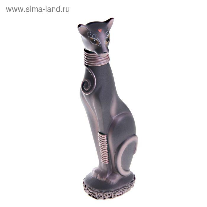 """Сувенир """"Кошка Багира №1"""" окольцованная черная с медью"""