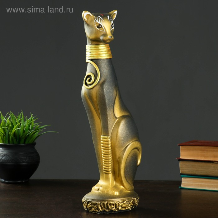 """Сувенир """"Кошка Багира №1"""" окольцованная черная с золотом"""