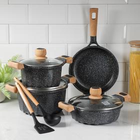 Набор посуды, 6 предметов: кастрюли d=20 см, d=24 см, сотейник d=24 см, сковорода d=24 см, лопатка, ложка, цвет чёрный