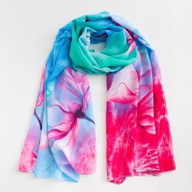 Парео текстильное BS 1643_P(18-2) цвет голубой/яркой-розовый, р-р 95х155 Ош