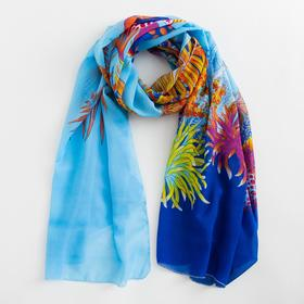 Парео текстильное BS 1643_P(3-1) цвет голубой/синий, р-р 95х155 Ош