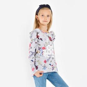 Лонгслив для девочки, цвет серый, рост 116 см