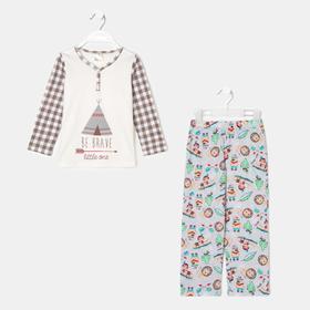 Пижама для мальчика, цвет белый, рост 104 см