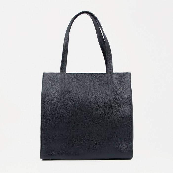 Сумка-тоут, отдел на молнии, наружный карман, цвет чёрный - фото 834345