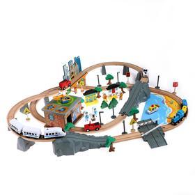 Деревянная игрушка «Железная дорога» 95 деталей, 52,5×33×12,5 см