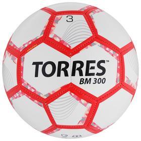 Мяч футбольный TORRES BM 300, размер 3, 28 панелей, глянцевый TPU, 2 подкладочных слой, машинная сшивка, цвет белый/серебряный/красный
