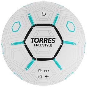 Мяч футбольный TORRES Freestyle, размер 5, 32 панели, PU, термосшивка, цвет белый/серый/чёрный