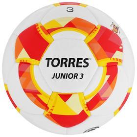 Мяч футбольный TORRES Junior-3, размер 3, вес 270-290 г, глянцевый ПУ, 3 слоя, 32 панели, ручная сшивка, цвет белый/красный/жёлтый