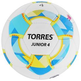 Мяч футбольный TORRES Junior-4, размер 4, вес 310-330 г, глянцевый ПУ, 3 слоя, 32 панели, ручная сшивка, цвет белый/синий/жёлтый