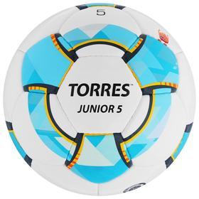 Мяч футбольный TORRES Junior-5, размер 5, вес 390-410 г, глянцевый ПУ, 3 слоя, 32 панели, ручная сшивка, цвет белый/синий/жёлтый