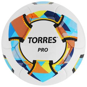 Мяч футбольный TORRES Pro, размер 5, 14 панелей, PU, 4 подкладочных слоя, ручная сшивка, цвет белый/синий/жёлтый