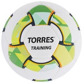 Мяч футбольный TORRES Training, размер 4, 32 панели, PU, 4 подкладочных слоя, ручная сшивка, цвет белый/зелёный