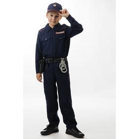 Карнавальный костюм «Полицейский», сорочка, брюки, кепи, ремень, кобура, наручники, рост 134 см