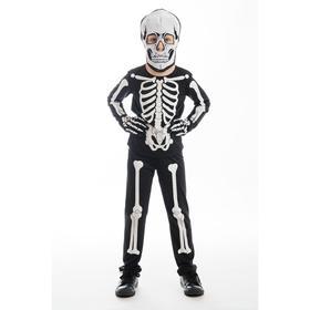 """Карнавальный костюм """"Скелетон"""", брюки, фуфайка, шапка-маска, перчатки, р.28, рост 110 см"""