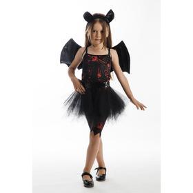 """Карнавальный костюм """"Летучая мышь"""", топ, леггинсы с юбкой, крылья, обруч, р.28, рост 110 см"""