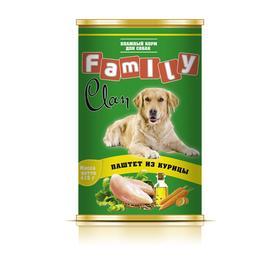 Консервы CLAN FAMILY для собак, паштет из курицы, 415 г