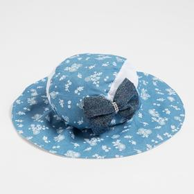 Панама для девочки, цвет голубой/цветочки, размер 53-56 см (6-10 лет)