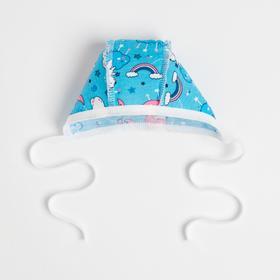 Чепчик детский, цвет голубой/мишки, рост 62 см