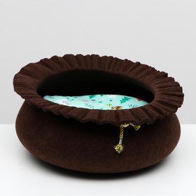 """Лежанка для животных """"Шляпа"""", фетр, 40 х 40 х 15 см микс цветов"""
