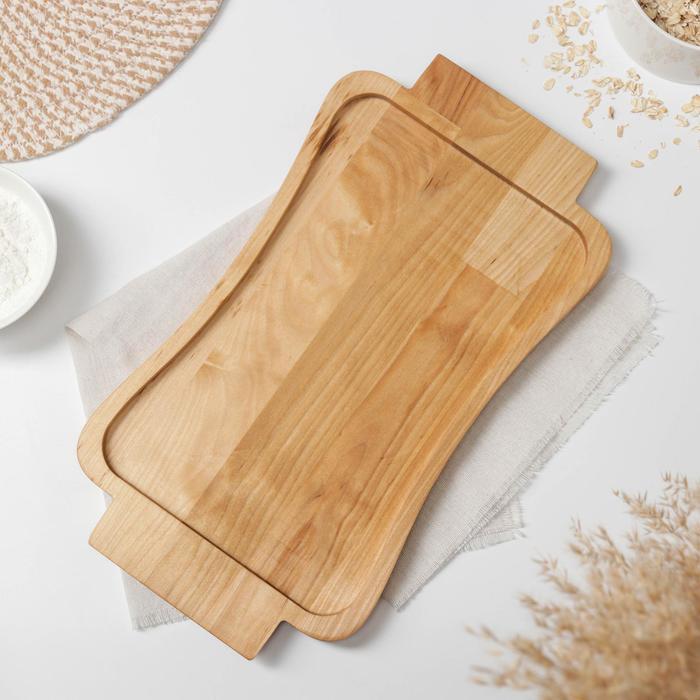 Блюдо-поднос Доляна, 38,4×21,2×1,9 см, берёза