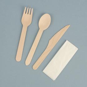 """Набор деревянной эко - посуды """"Вилка, ложка, нож, салфетка"""