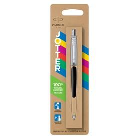 Ручка шариковая Parker Jotter Plastic CT K60 корпус из нержавеющая сталь, чёрный, синие чернила (2096873)