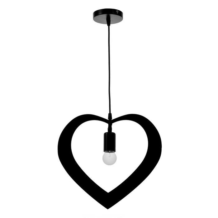 """Светильник подвесной """"Сердце"""" 1х40Вт E27 черный - фото 590292"""