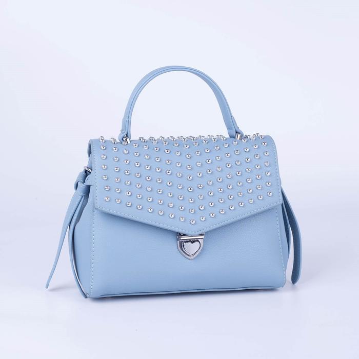Сумка-мессенджер, отдел на клапане, наружный карман, длинный ремень, цвет голубой - фото 837666