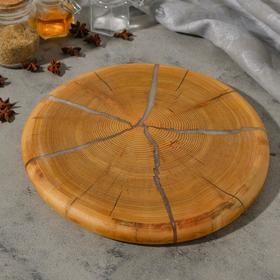 Спил лиственницы, эпоксидная смола, большой, диаметр 30 см