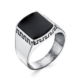 """Перстень мужской """"Агат"""" орнамент, посеребрение, 20 размер"""