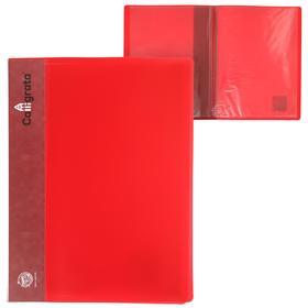 Папка 10 прозр вкладышей A4 500мкм Calligrata, карман на корешок, красный