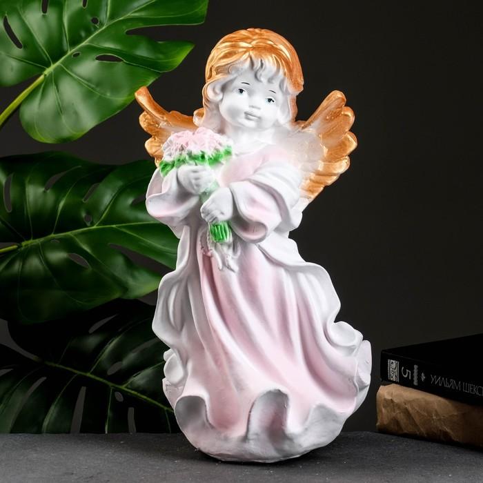 """Статуэтка """"Ангел в платье с букетом"""" бело-розовый"""