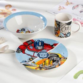 Набор Transformers, 3 предмета: кружка 240 мл, миска d=18 см, тарелка d=19 см