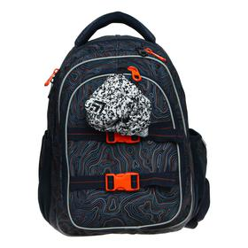 Рюкзак школьный, Kite 8001, 40 х 29 х 17 см, эргономичная спинка, тёмно-синий