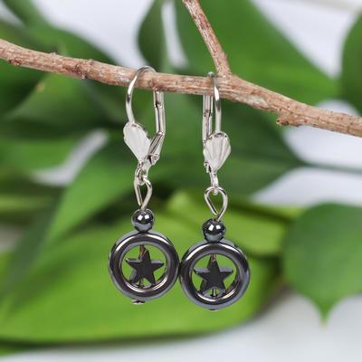 """Earrings """"Hematite"""" star in circle"""