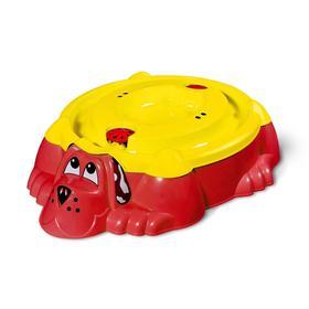 Песочница «Собачка» с крышкой, цвет красный/жёлтый