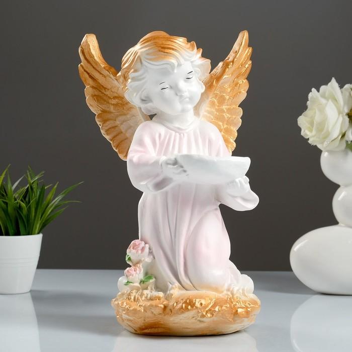 """Фигура """"Ангел с чашей"""" розовый 19х19х33см"""