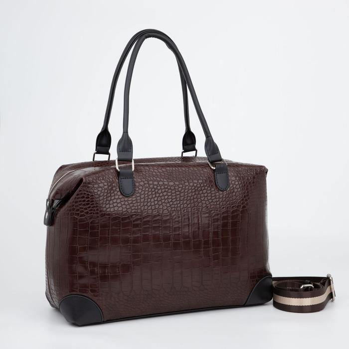 Сумка дорожная, отдел на молнии, наружный карман, длинный ремень, цвет коричневый - фото 840370
