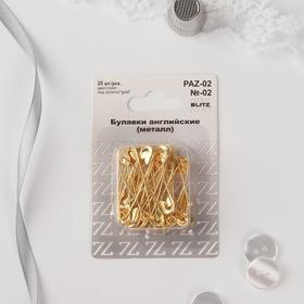 English pins 36 mm, 25 pcs, golden color.