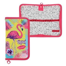 Пенал 1 секция, 110 х 190 мм, ламинированный картон, «Оникс», ПКК 03- 5, «Яркий фламинго»
