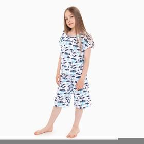 Пижама для девочки, цвет белый, рост 116-122 см