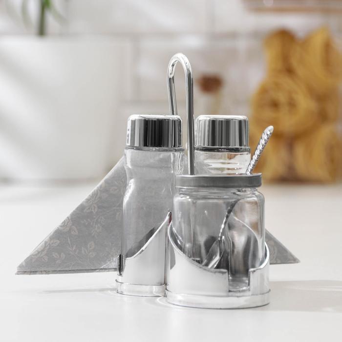 Набор для специй на пластиковой подставке Доляна «Эксклюзив», 3 предмета: солонка и перечница 50 мл, сахарница 80 мл