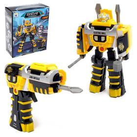 Робот с трансформацией «Шуруповёрт», работает от батареек, цвет жёлтый